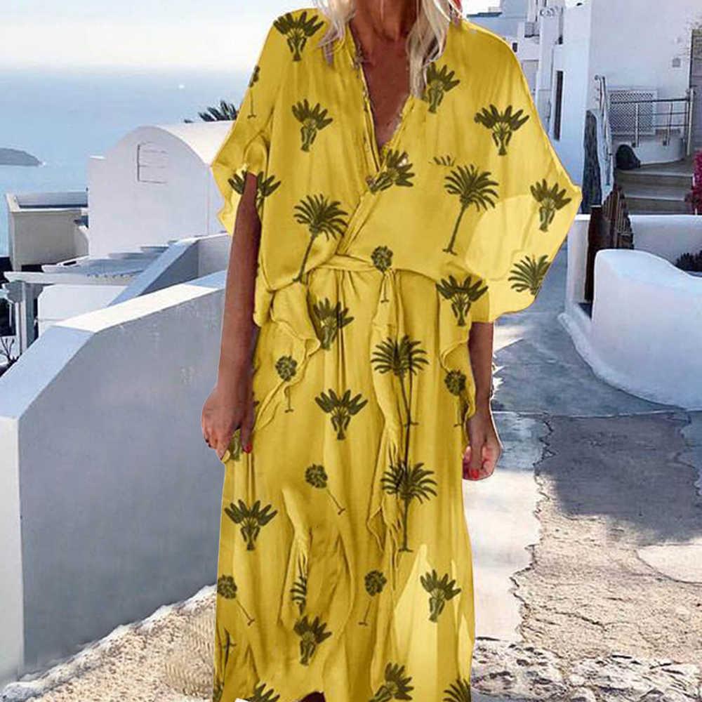 Mode femmes col en v manches courtes volant ourlet lâche imprimé robes nouveau été plage vacances décontracté Slim Fit Maxi longues robes