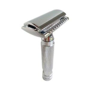 Image 5 - Çift kenarlı emniyetli jilet Net ağırlık 124 Metal paslanmaz berber sakal tıraş DE Blade hediye kutusu