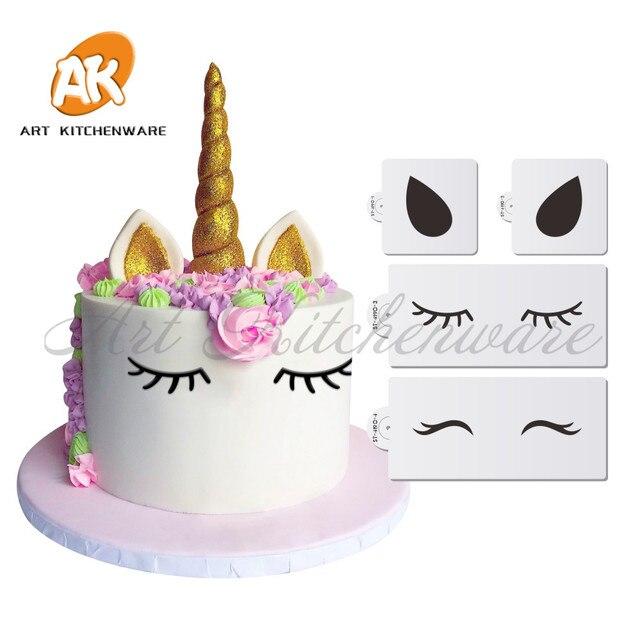 Einhorn Augen Ohren Kuchen Seite Schablone 3d Fondant Kuchen Mold