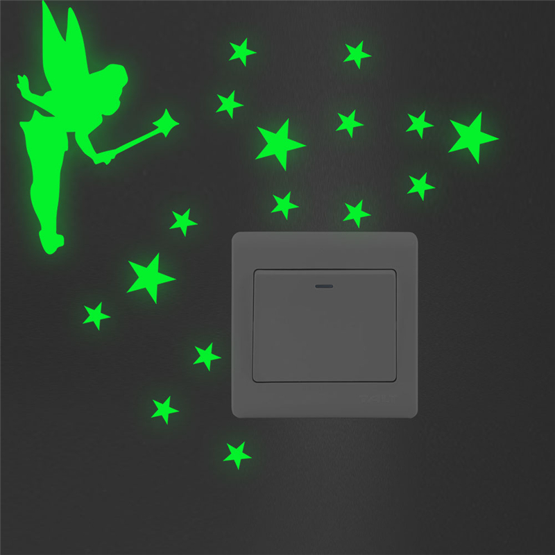 Glow In The Dark Switch Wall Stickers Luminous Kids Room Bathroom Creative Decor