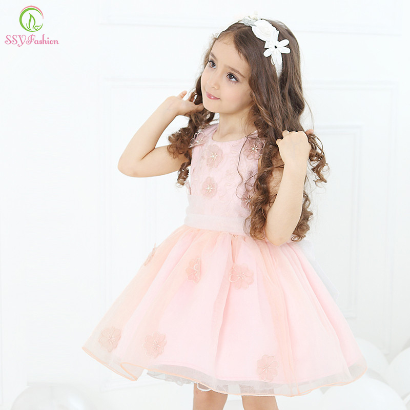 Ssyfashion lovely princess dress children pink white flower girl ssyfashion lovely princess dress children pink white flower girl dresses for wedding first communion birthday party ball gown in flower girl dresses from mightylinksfo