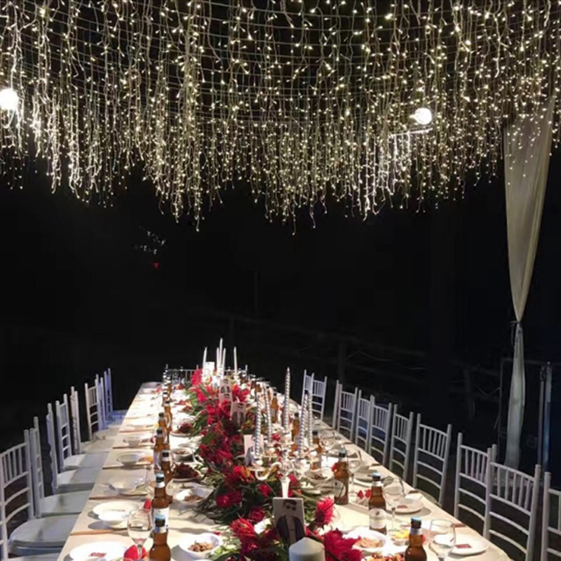 Image 2 - EU 220V 5m 96Leds Christmas Garland LED Curtain Icicle String Light Indoor Drop Party Garden Stage Outdoor Decorative Light-in LED String from Lights & Lighting on