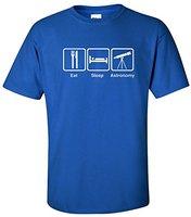 Tailored Shirts O Neck Comfort Soft Short Sleeve Mens Gildan Eat Sleep Astronomy Mens T Shirt