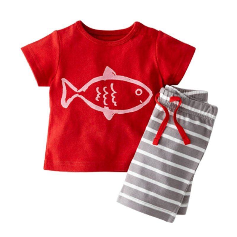 Baby Boys Summer Clothing Set Boat Anchor Fish Striped Cotton Baby Boys Clothes Set T shirt Pant 2PCS Baby Set Baby Clothing 2pcs children outfit clothes kids baby girl off shoulder cotton ruffled sleeve tops striped t shirt blue denim jeans sunsuit set