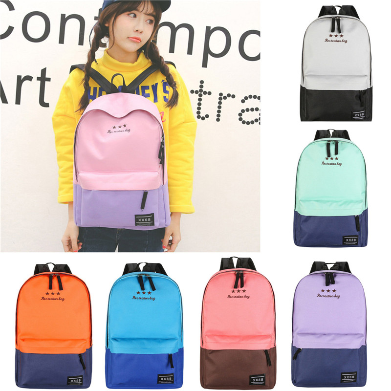 Fashion New Recreation Bag Women Travel Canvas Hit Color Splicing Satchel School Bag Zipper Backpack sac a dos des femmes plecak