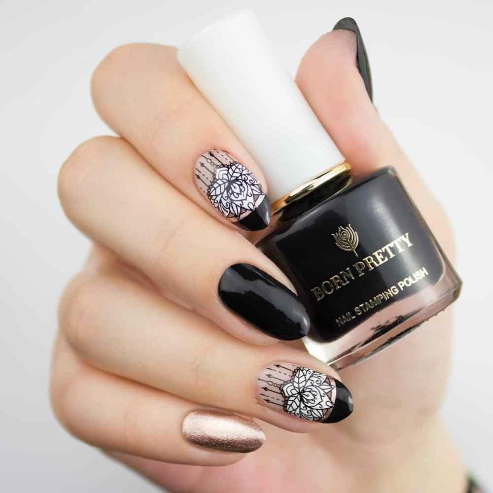 GEBOREN ZIEMLICH Schwarz Weiß Nagel Polnischen Lack Gold Silber Nail art  Platten Stempel Öl Für Nägel Design Frühling Serie 20ml
