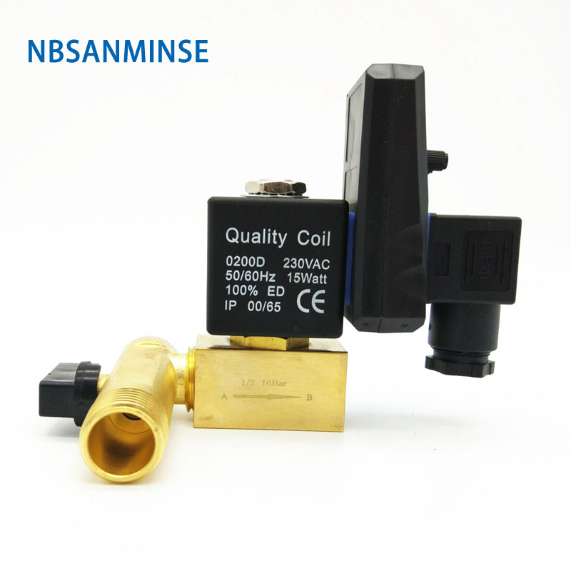 "Nbsanminse Sr C 15 Electronic Drain Valve G1/2 "" Air Compressor Brass Valve Dc24v Ac220v 1.6mpa Auto Drainer"
