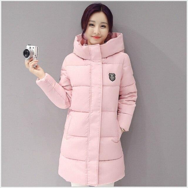 Новое поступление 2017; повседневные теплые с длинным рукавом Дамы одноцветное пальто jaqueta feminina куртка женские парки Хлопок Женщины зимняя куртка