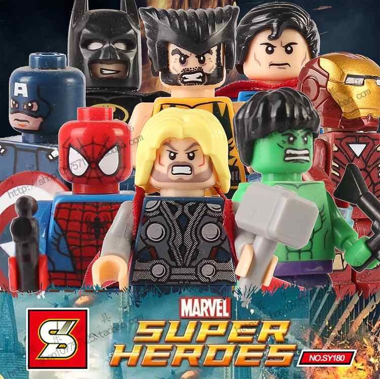 8 قطعة/المجموعة باتمان ثور الهيكل x-men شخصيات المنتقمون بناء بلوك الشكل تعلم لعبة متوافقة مع ليغو