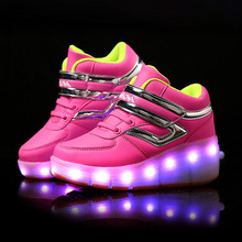 New Children Glowing Sneakers Kids Roller Skate Shoes with Wheels Led Light up Glowing Shoes for Boy Girls zapatillas hombre