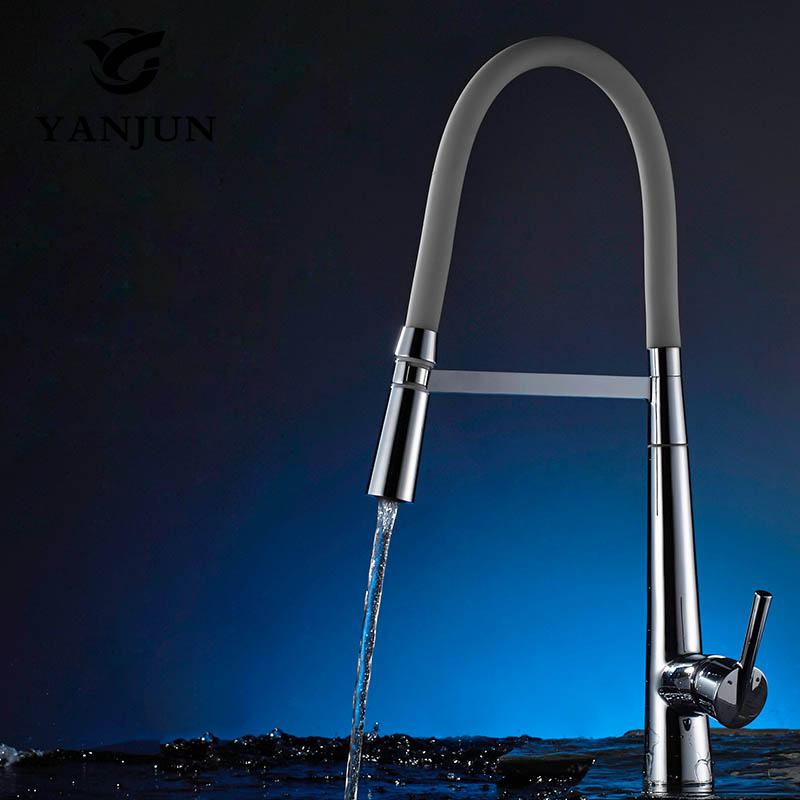 Yanjun 360 Degree Rotation Kitchen Faucet Chrome Pull Out Deck Mounted Swivel Mixer Hot and Cold Water Tap YJ-6655 360 degree swivel two spouts kitchen faucet pull out deck mounted brass polished chrome basin hot cold water mixer tap