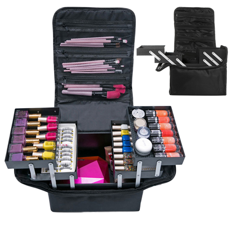 Travel Portable Cosmetic Storage Box Women Large Capacity Professional Makeup Organizer Beauty Salon Tattoos Nail Art Tool Bins