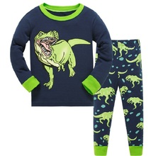 Christmas Children Dinosaur Warm Cotton Clothing Suit Baby Girls Boys Print Pyjamas T-shirt Cartoon Pants 2pcs Kids Pajamas Set цена и фото