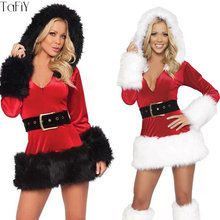 d3e7b3dec9b TaFiY 2 pcs Sexy Women Christmas Dress with Hat Santa Claus Costumes For  Adults Christmas Cosplay Uniform Fancy Party Dress