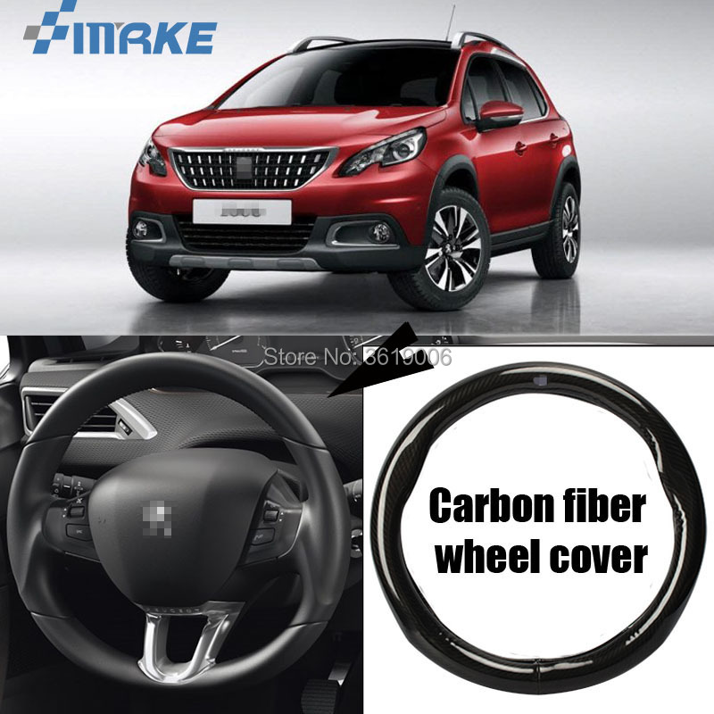 smRKE Car Accessories For Peugeot 2008 Black Carbon Fiber Leather Steering Wheel Cover Sport Racing Car Styling