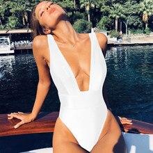 Сексуальный 2019 цельный купальный костюм женский однотонный купальный костюм женский с высокой талией пляжный купальный костюм летний купальный костюм Монокини Пляжная одежда