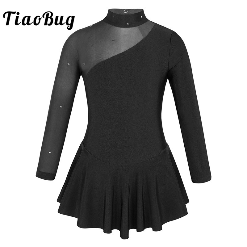 TiaoBug Kids Girls Rhinestone Tulle Splice Long Sleeve Figure Ice Skating Dress Children Ballet Gymnastics Leotard Dance Costume