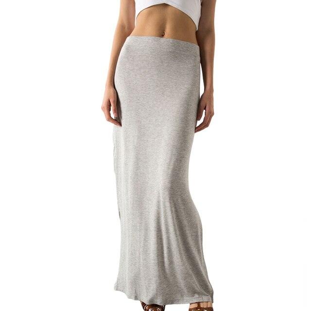 Горячие Юбки 2017 chic длинные юбки женщины повседневная плюс размер одежды элегантный черный или серый 2 цвета макси юбки 6211