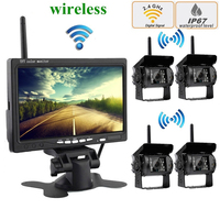 2.4G Digital Wireless 7 HD TFT LCD Vehicle Rear View Monitor Backup Camera Parking System 4 Cameras For Truck RV Trailer Bus