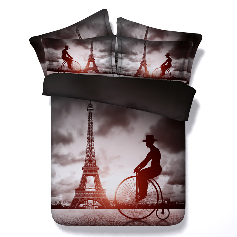 The Eiffel Tower 3D Printed Comforter Bedding Twin Full Queen Super Cal King Size Bed Sheets Duvet Covers Set Children Home Grey