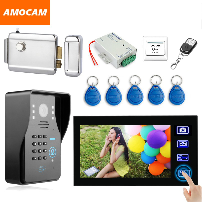 7 Inch Wireless Video Door Phone Doorbell Intercom system with Electronic Lock / password/ ID Card /Remote/ Exit button Unlock 7inch 2 4ghz wireless intercom unlock video door phone with 3camera