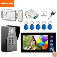 7 Polegada Video Sem Fio Da Porta Telefone Campainha Intercom sistema com Fechadura Eletrônica/senha/ID Card/Controle Remoto/ botão de saída de Desbloqueio