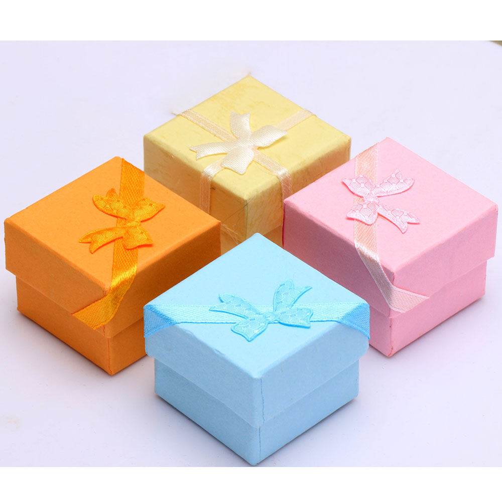 paper packing engagement ring box pink blue yellow orange 42*42*32mm cube paper box for rings new jewelry accessories box gift