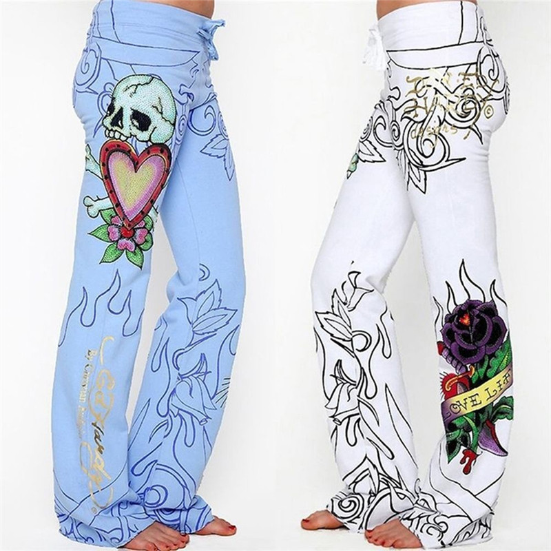 United High Waist Women Fashion Wide Leg Casual Summer Loose Trousers Rose Skeleton Printing Fashion Hot Street Wear Fashion Pants Sale Overall Discount 50-70% Women's Clothing Pants & Capris