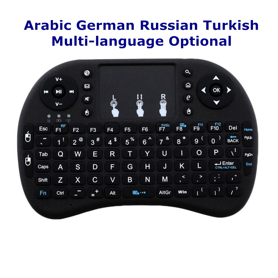 Portable Wireless Mini Keyboard 2.4GHz Touchpad With Receiver Android TV Box Arabic German Russian Turkish Language Optional new ru for lenovo u330p u330 russian laptop keyboard with case palmrest touchpad black