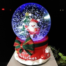 Snow crystal ball with rotating band lamp Music box Christmas gift Send girlfriend Children's New Year gifts