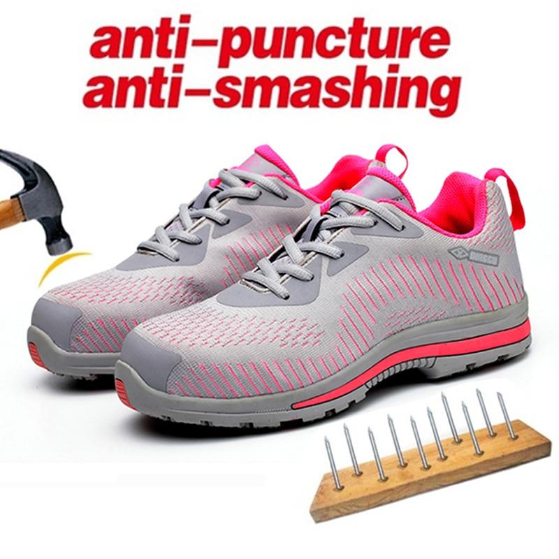 Mujeres ligero balas trabajo seguridad zapatos mujeres AtreGo trabajo anti-rompiendo acero senderismo tamaño EUR36-45