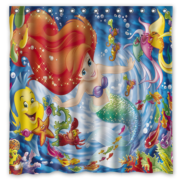 Hot New 180x180cm Little Mermaid Waterproof Fabric Bathroom Shower Curtain  Bath Curtains With 12pcs Hooks Rings In Shower Curtains From Home U0026 Garden  On ...