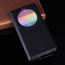 Quick Smart Circle View Window Leather Case With Smart Auto Sleep Wake Function Flip Back Cover Phone Bag For LG G3 D855 D850