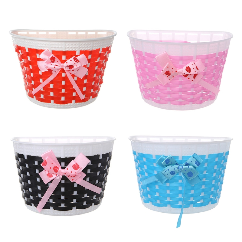 1pc Bicycle Basket Children Bike Plastic Knitted Bow Knot Front Handmade  CWUS