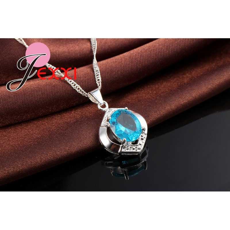Klassische 100% 925 Sterling Silber Top Grade AAA + + CZ Zirkon Hochzeit Engagement Halskette + Hoop Ohrring Blau Schmuck Sets geschenke
