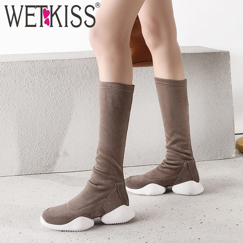 WETKISS Kid Suede Ankle Women Boots Round Toe Zip Footwear Flat With Short Long Female Boot Platform Shoes Women 2018 Winter цена
