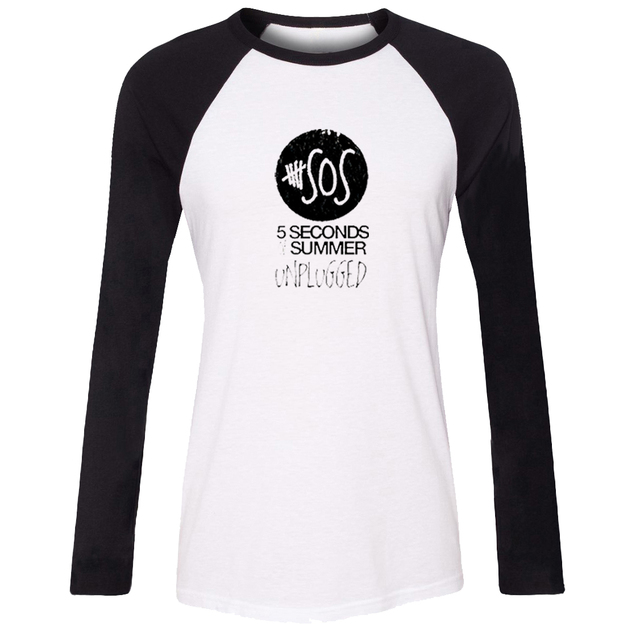 IDzn Casusl Camiseta Unplugged 5SOS 5 Segundos de Verano de Las Mujeres Banda de Rock de Manga Larga de algodón de la Muchacha Camiseta de la Señora Tee Tops