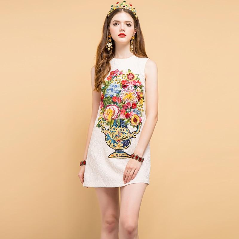 Baogarret New 2019 Fashion Designer Summer Dress Women 39 s Beading Sequined Appliques Embroidery Elegant Vintage Mini Dresses in Dresses from Women 39 s Clothing