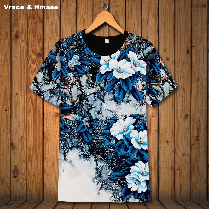 Chinese style creative 3D flower pattern boutique short sleeve t shirt Summer 2018 New fashion casual quality t shirt men S 6XL