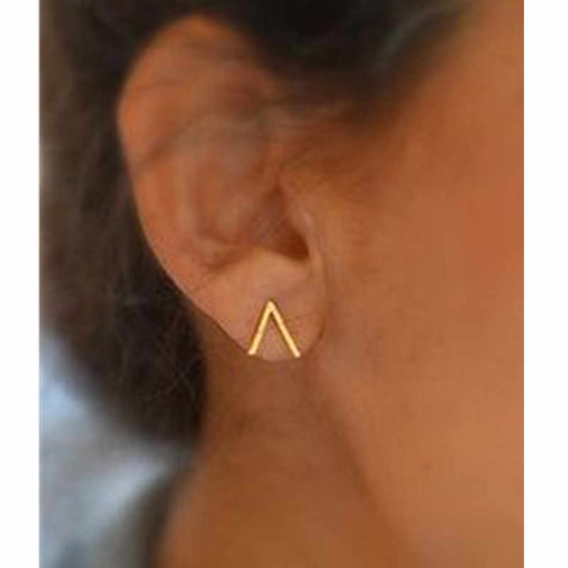 E070 Concise Design Triangle Stud Earrings For Women Excellent Gold-color Stud Earrings Vintage Jewelry Hot Sale Wholesale