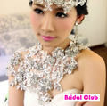 Princess Hot Wedding Bride Luxury Lace Rhinestone Chain Shoulder Necklace Flower Lace Fairy jewelry hairwear handmade