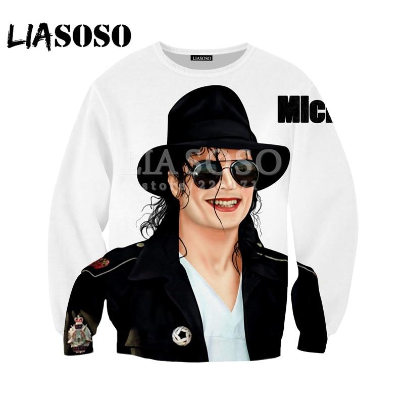 LIASOSO Fall Fashion Men Women 3D Print Singer Michael Jackson Sweatshirt Hip-hop Long-sleeved Street Harajuku Pullover A001-01