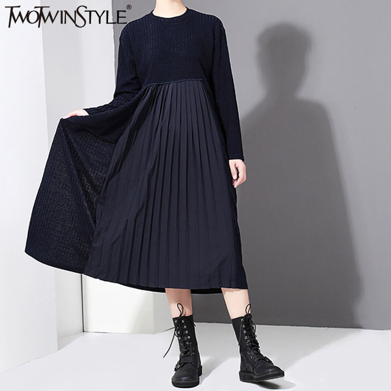 TWOTWINSTYLE 2017 Knitted Chiffon Autumn Midi Long Dress Female Pleated Blue Dresses for Women Casual Korean Fashion Clothing