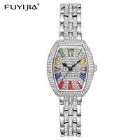 FUYIJIA баррель Тип женские часы полный алмазов серебро розовое золото кварцевые часы для женщин часы сталь браслет часы водонепроница