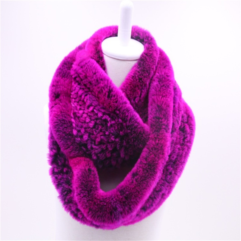 High Quality Fashion Womens Knitted Rex Rabbit Fur Scarves Natural Fur Multicolor Winter Real Fur WrapS New Style CYK562108