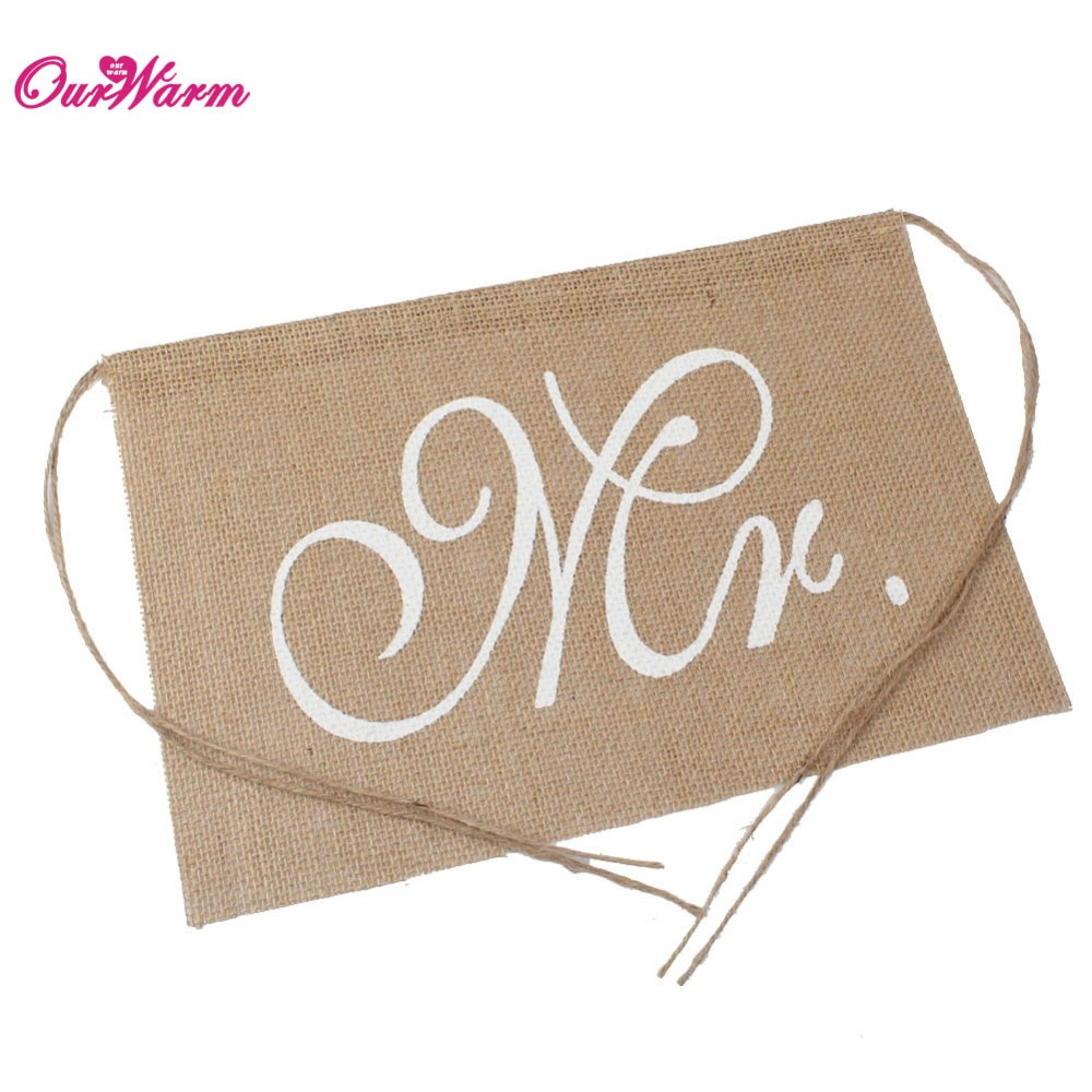 buy rustic wedding banners signs mr and mrs chair sign vintage wedding decoration burlap chair sign for groom and bride party supply from