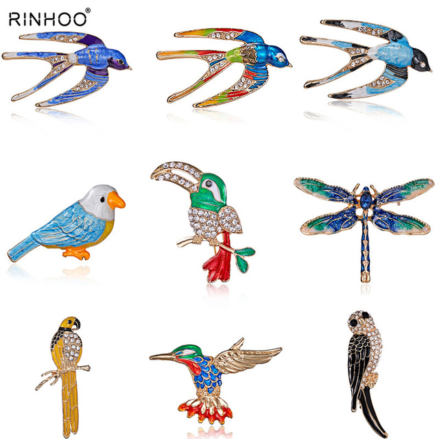 Woodpecker Dragonfly Swallow Shape Insects Brooch Pin Blue Red Green Metal Scarf Pins Women Kids Clothes Accessories Jewelry