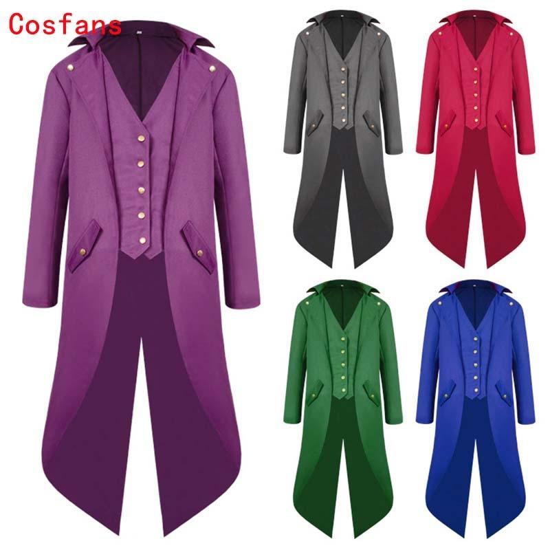 COSFANS Men's Long Coat Solid Color Punk Vintage Tuxedo Middle Ages Prince Punk Steampunk Jacket Long Sleeve retro men's uniform