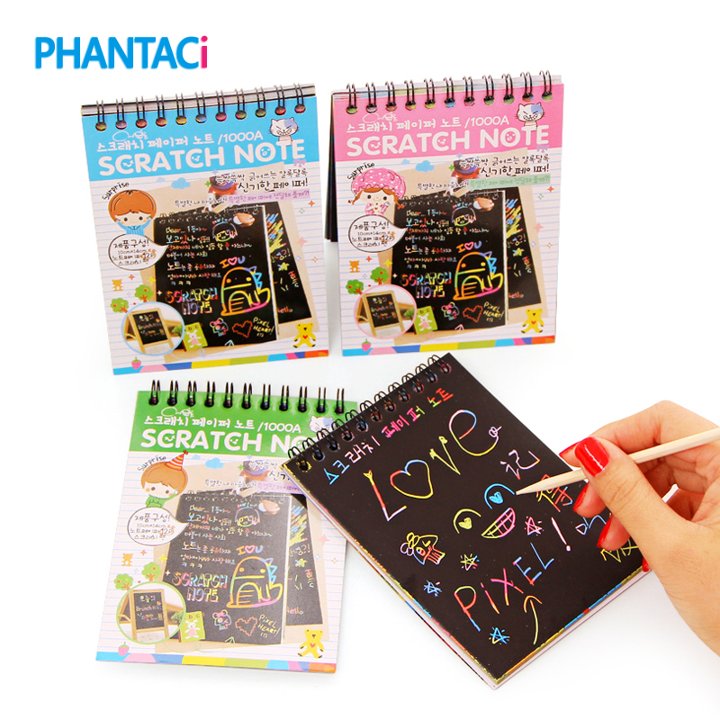 DIY Cute Kawaii Coil Graffiti Notebook Black Page Magic Drawing Painting Notepad for Kids Stationery Gift Free shipping