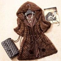 Для женщин из натуральной норки Мех животных пальто новая мода новое качество жилет леди теплая зима норки Меховая куртка с капюшоном натур